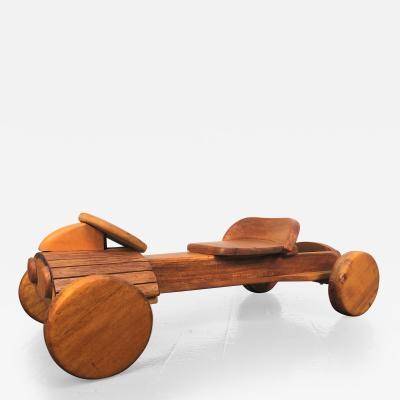 Vintage Custom Made Solid Mahogany Go Kart