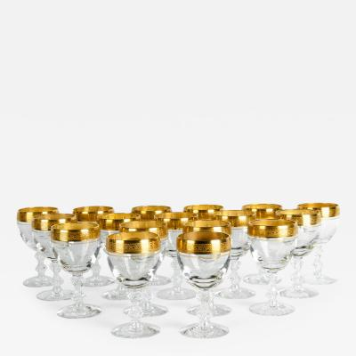 Vintage Cut Crystal with Gold Design Top Wine Water Glassware Set