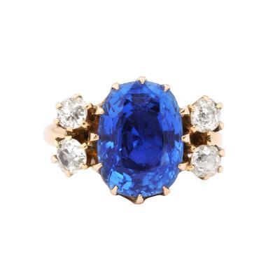 Vintage Deco Sapphire 18 K Gold Ring