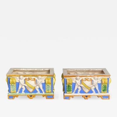 Vintage Della Robbia Planters Italy Circa 20th Century A Pair