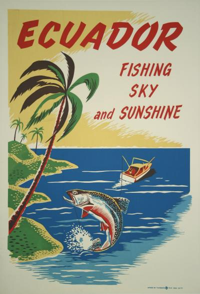 Vintage Ecuador Vacation Travel Poster c 1950s