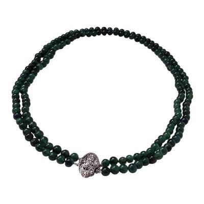 Vintage Emerald Beads Necklace Double Strand 18K Diamond Clasp