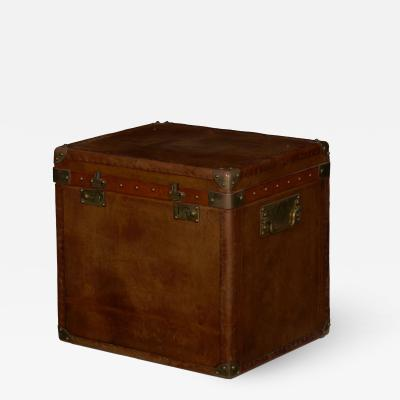 Vintage English Raw Patinated Leather Brass Mounted Travel Trunk