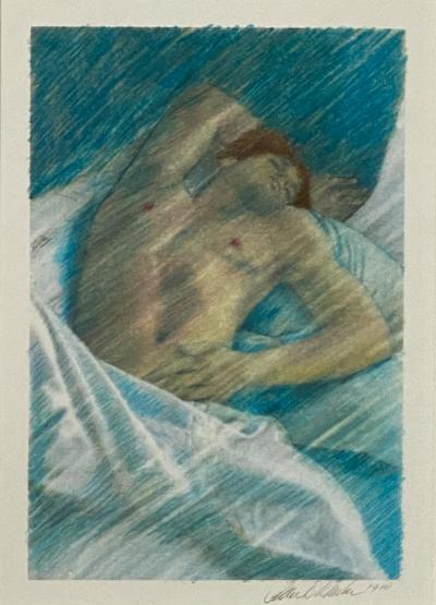 Vintage Etching of a Sleeping Person