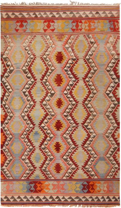 Vintage Fathiye Pastel Blue and Pink Wool Kilim Rug with Vibrant Accents