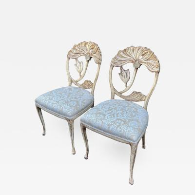 Vintage Fortuny Upholstered Carved Italian Grotto Chairs a Pair