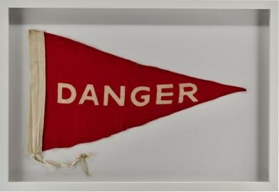 Vintage Framed Large Wool Danger Flag Pennant