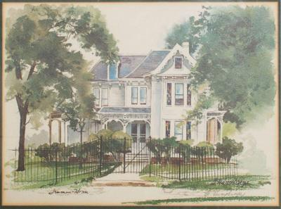 Vintage Framed Print Landscape Gated White House