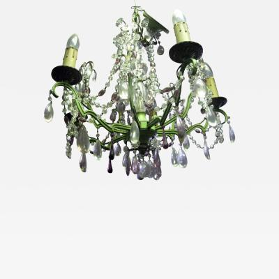 Vintage French Amethyst Chrystal and Painted Metal Chandelier