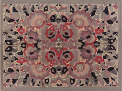 Vintage French Art Deco Botanic Handwoven Wool Rug