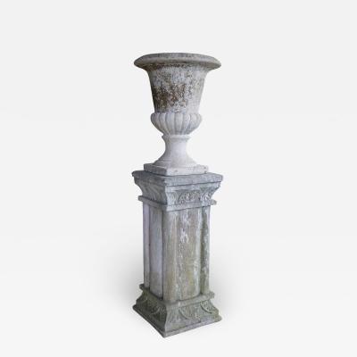 Vintage French Cast Stone Urn on Pedestal