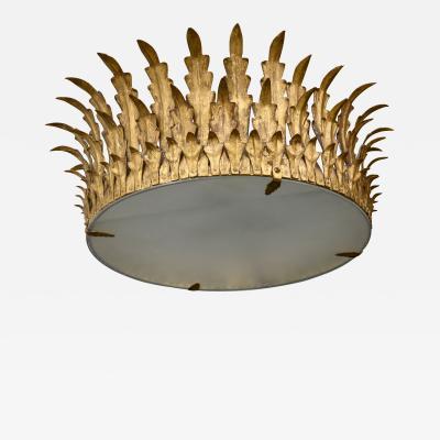 Vintage French Gilt Tole Crown Light Fixture
