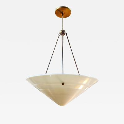Vintage French Milk Glass and Brass Pendant