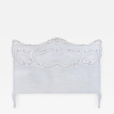 Vintage French Queen Size Bed Headboard Painted White