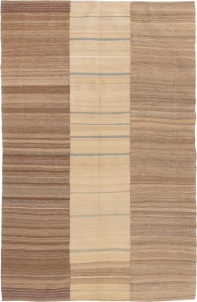 Vintage Geometric Beige and Brown Multi Color Wool Kilim