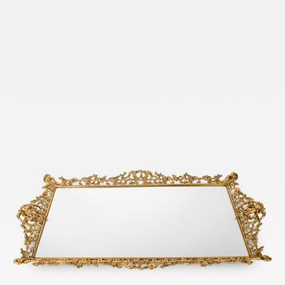 Vintage Gilded Brass Vanity Mirrored Tray