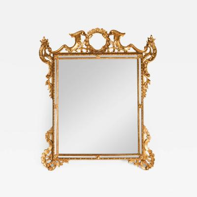 Vintage Gilded Wood Frame Hanging Wall Mirror
