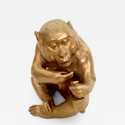 Vintage Gilt Metal Monkey with a Flask