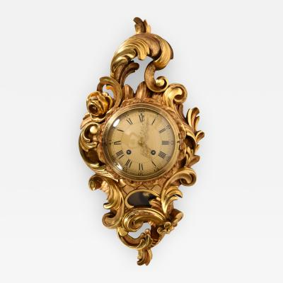 Vintage Gilt Wood Framed Swedish Wall Cartel Clock