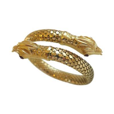 Vintage Gold Serpent Bracelet 1960s Italy