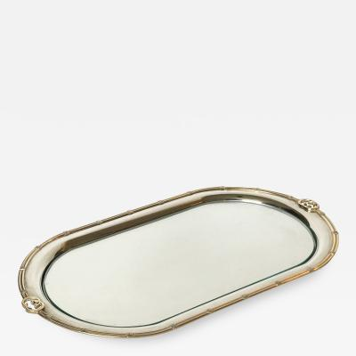 Vintage Gucci Silver Plated Oval Tray Italy 1970s