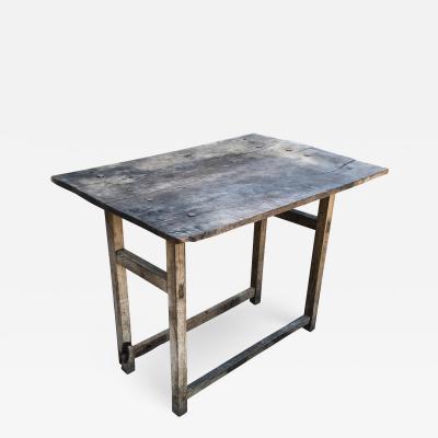 Vintage Hacienda Antique Work Table in Rustic Edge Mexican Mesquite Wood 1940s