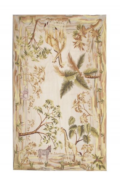 Vintage Handmade Needlepoint Chinese Safari Tapestry