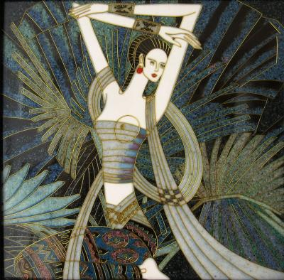 Vintage Hard Stone Inlay Picture of an Exotic Woman