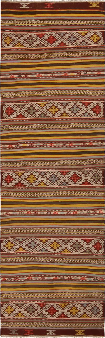 Vintage Helvaci Yellow Multi Color Wool Kilim Rug