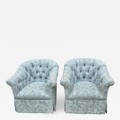 Vintage Hollywood Regency Blue Fortuny Tufted Swivel Club Chairs a Pair