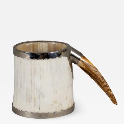 Vintage Horn Antler Silver Plate Mug