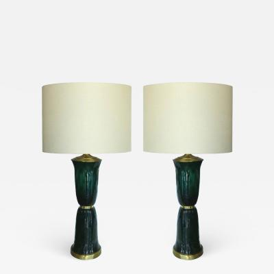 Vintage Hunter Green Murano Glass Table Lamps with Brass Accents