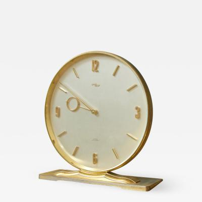 Vintage Imhof for Saks Fifth Avenue Circular Brass Desk Clock Switzerland 1960s