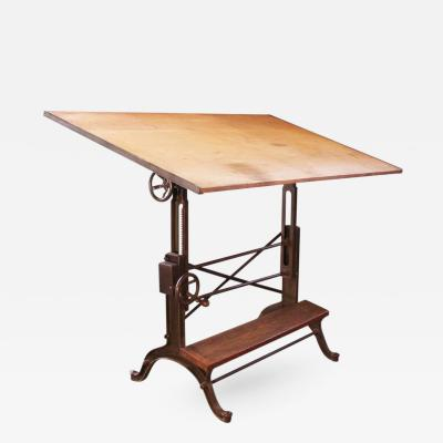 Vintage Industrial Cast Iron and Wood Frederick Post Adjustable Drafting Table