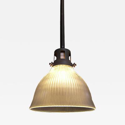 Vintage Industrial Glass Holophane Ceiling Hanging Lamp Light