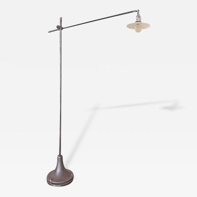 Vintage Industrial Milk Glass Floor Lamp Light