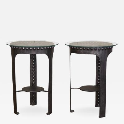 Vintage Industrial Riveted Steel Metal and Glass End Side Tables