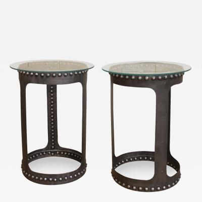 Vintage Industrial Riveted Steel Metal and Glass End or Side Tables