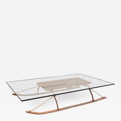 Vintage Industrial Wood and Glass Sled Coffee Table