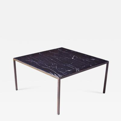 Vintage Italian Black Carrara Marble and Bronze Square Coffee Table 1970s