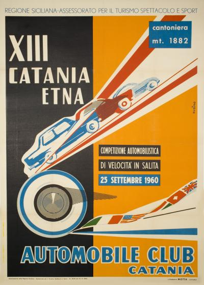Vintage Italian Car Race Poster by Rubino 1960