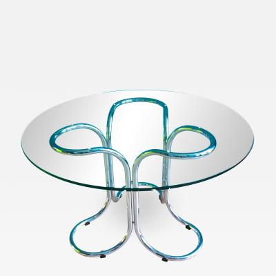 Vintage Italian Circular Glass Table with Metal Base