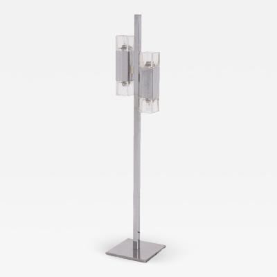Vintage Italian Floor Lamp in Chromed Steel and Glass