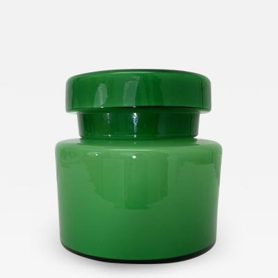Vintage Italian Green Jar W Lid Vistosi Empoli Cased Glass 0296