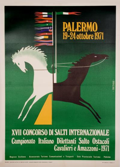 Vintage Italian Horse Jumping Competition Poster 1971