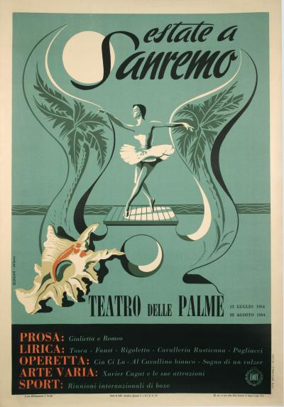 Vintage Italian Mid 20th Century Festival Poster