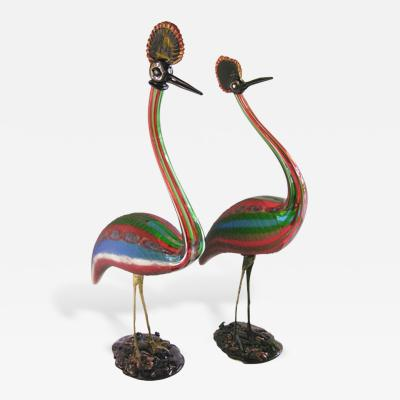 Vintage Italian Tall Pair of Jewel Like Red Blue Green White Glass Crested Birds