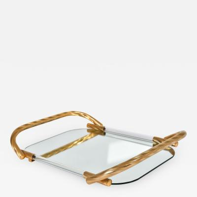 Vintage Italian mirrored tray with brass handles