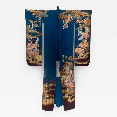 Vintage Japanese Silk Kimono with Designs