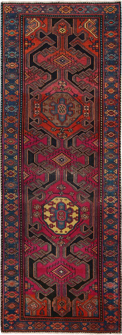 Vintage Kazak Red and Blue Wool Runner